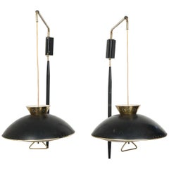Pair of 1950s Counter Balance Sconce Light Fixtures