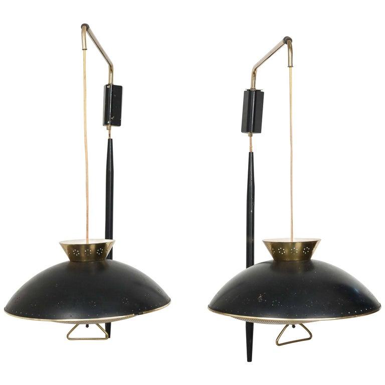 Pair of 1950s Counter Balance Sconce Light Fixtures