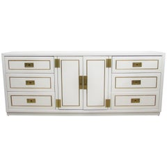 Nine-Drawer Lacquered Campaign Credenza