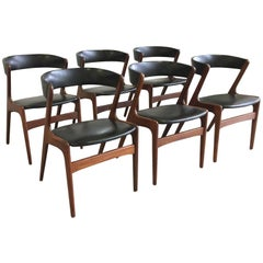 Set of Six Midcentury Danish Teak and Black Skai Dining Chairs by Omann Jun