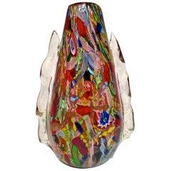 AVeM Vase, Artistic Blown Murano Glass, Multicolored and Red, circa 1950
