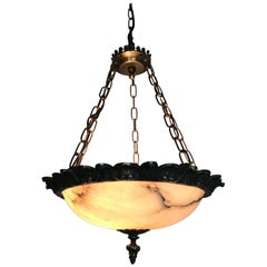 Small Size Art Deco Alabaster Pendant with Bronze Frame on Chains & Brass Canopy