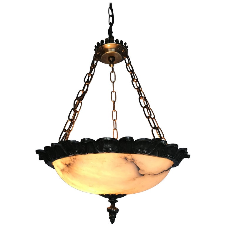 Small Size Art Deco Alabaster Pendant with Bronze Frame on Chains & Brass Canopy For Sale