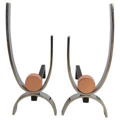 Artisan Made Mid-Century Modern Copper and Iron Andirons