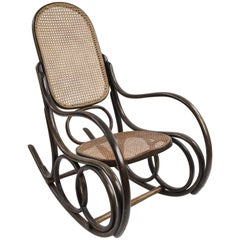 Thonet Rocking Chair in Bentwood and Cane