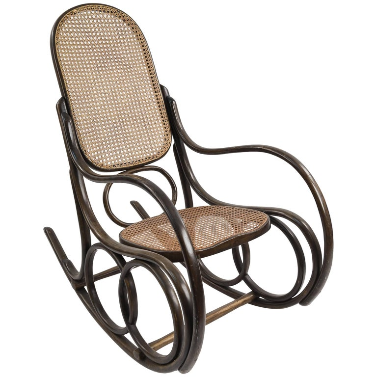 Thonet Rocking Chair In Bentwood And Cane For Sale At 1stdibs