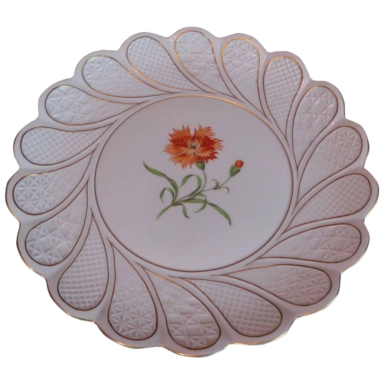19th Century Antique Meissen Porcelain Plate