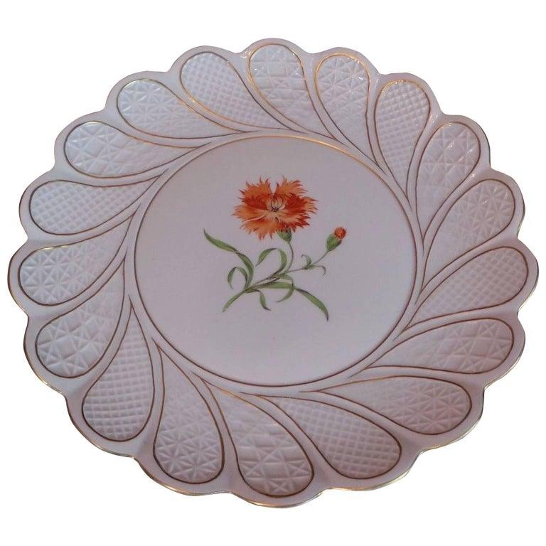 19th Century Antique Meissen Porcelain Plate For Sale