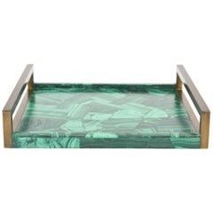 R&Y Augousti Faux Malachite Tessellated Composite and Oiled Brass Tray