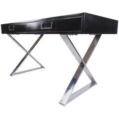 Vintage Writing Desk with Chrome x Base for John Stuart Inc
