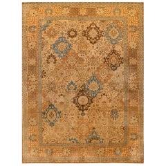 Antique Beige and Blue Persian Tabriz Rug