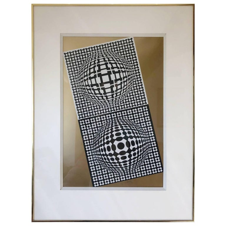 "Victor Vasarely ""Violon"" Screenprint, Dated 1982, Signed and Numbered"