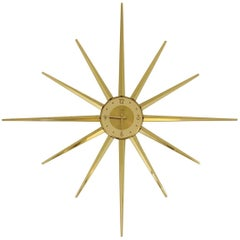 Large Roxhall Brass Spike Sunburst Clock, circa 1960