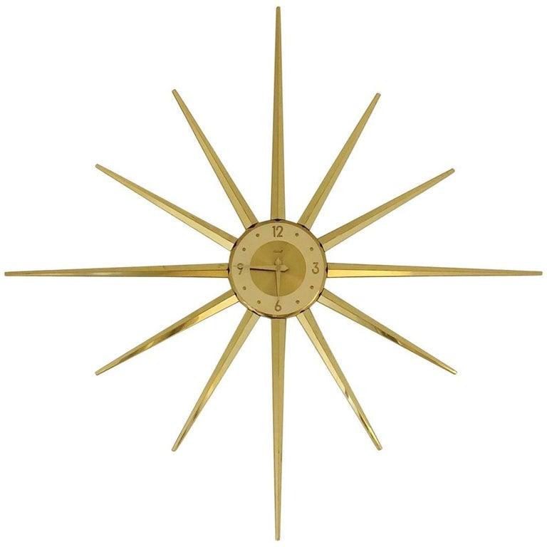 Large Roxhall Brass Spike Sunburst Clock, circa 1960 For Sale