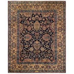 Fine Antique Blue Floral Persian Kerman Carpet