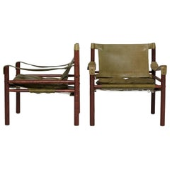 Pair of Green Leather Arne Norell 'Sirocco' Safari Chairs, Sweden, 1960s-1970s