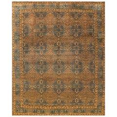 Antique Beige and Blue Persian Kerman Carpet