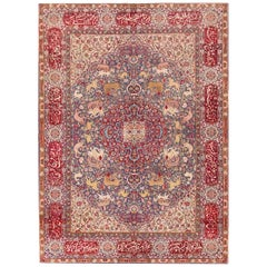 Antique Animal Motif Agra Indian Rug