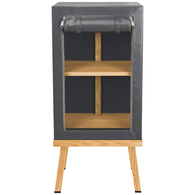 Visser and Meijwaard Truecolors Side Cabinet in Dark Grey PVC Cloth with Zipper For Sale