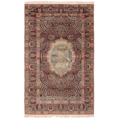 Small Size Antique Pictorial Persian Kerman Rug