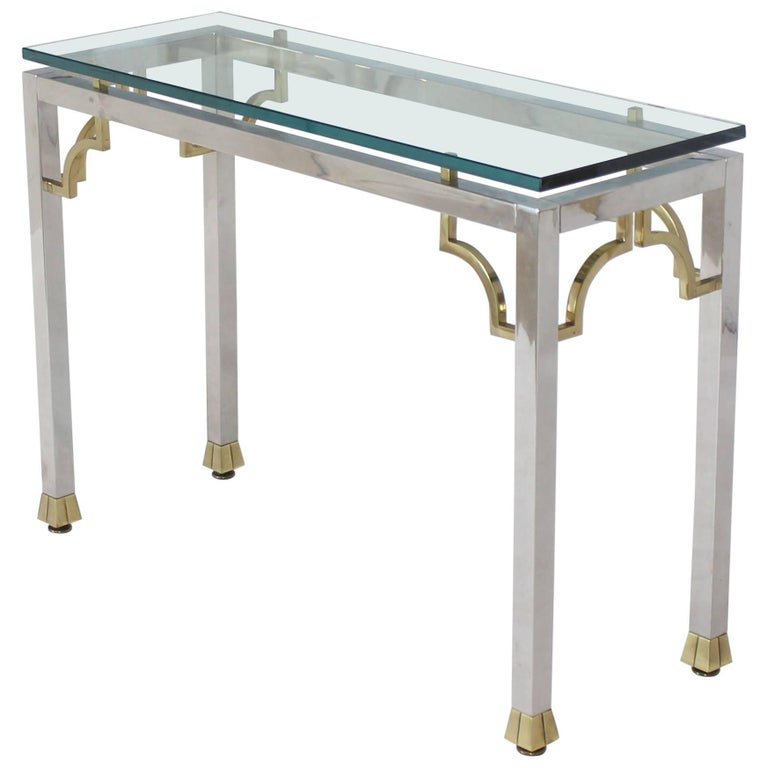 Chrome Brass Thick Glass Top Console Sofa Table
