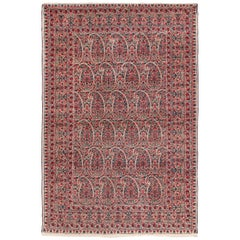 Paisley Millefleurs Design Small Antique Persian Kerman Rug