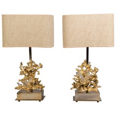 Pair of Bronze Lamps featuring Quartz Crystals, France, 1970s