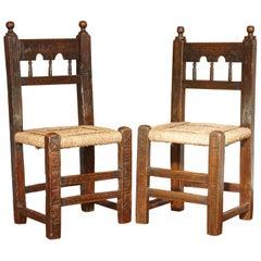 Two 17th Century Spanish Moorish Side Chairs