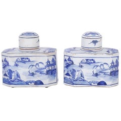 Pair of Blue and White Porcelain Tea Containers