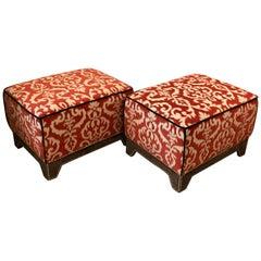 Pair of Custom Ottomans in Vibrant Paprika & Ecru, Silk & Cotton Velvet Fabric