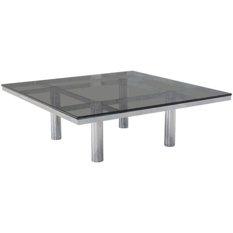Square Chrome Smoke Glass Coffee Table by Tobia Scarpa for Knoll
