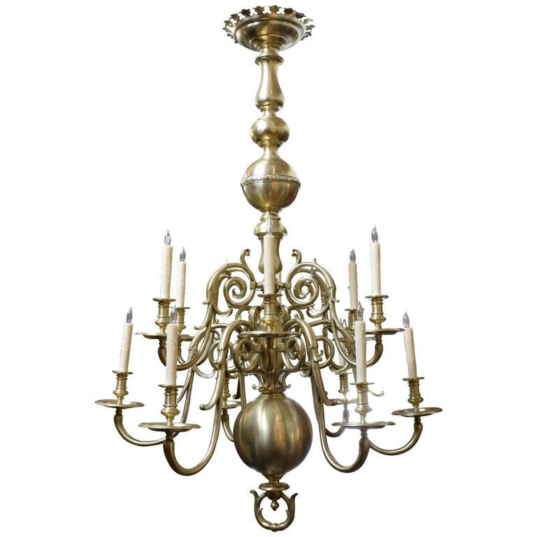 Spanish, Mallorca, Large Brass Baroque Style Twelve-Light Chandelier, circa 1900