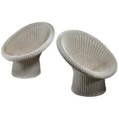 Egon Eiermann Pair of E10 Wicker Chairs, Germany