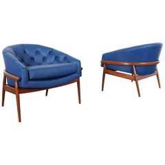"Vintage Leather Tufted ""Barrel"" Lounge Chairs"