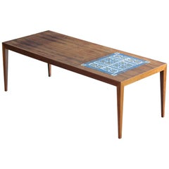 Rosewood Coffee Table, Severin Hansen for Haslev with Tiles by Royal Copenhagen
