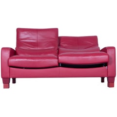 Erpo Designer Sofa Leather Red Two-Seat Couch Modern Recline Function