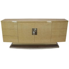 Long Curved Italian Birds Eye Maple Sideboard Credenza