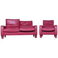 Erpo Designer Sofa Set Leather Red Two-Seat and Armchair Couch Recline Function