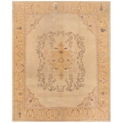 Antique Distressed Beige and Grey Turkish Oushak Carpet