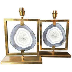 Couple of Table Lamps Agate in Natural Brass