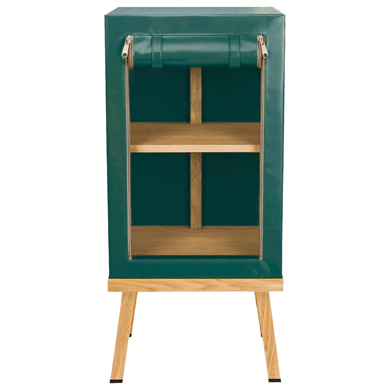 Visser and Meijwaard Truecolors Side Cabinet in Green PVC Cloth with Zipper For Sale