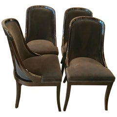 Four Art Deco Style Mahogany Dining Chairs Upholstered in Grey Cotton Velvet