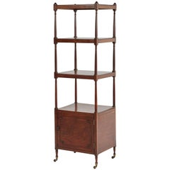 1830s English Whatnot Mahogany Four-Tiered Shelf