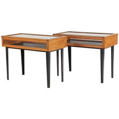 1940s French Pair of Display Wood and Glass Consoles with Ebonized Legs