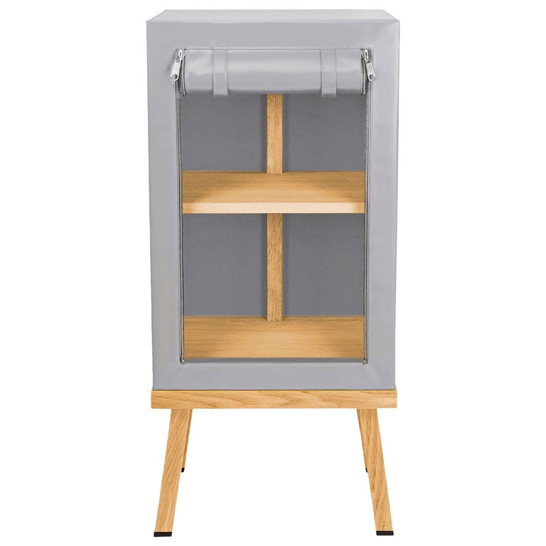 Visser and Meijwaard Truecolors Side Cabinet in Grey PVC Cloth with Zipper For Sale