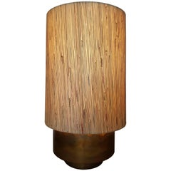 Modern Brass Table Lamp with Custom Grasscloth Shade by Paul Marra