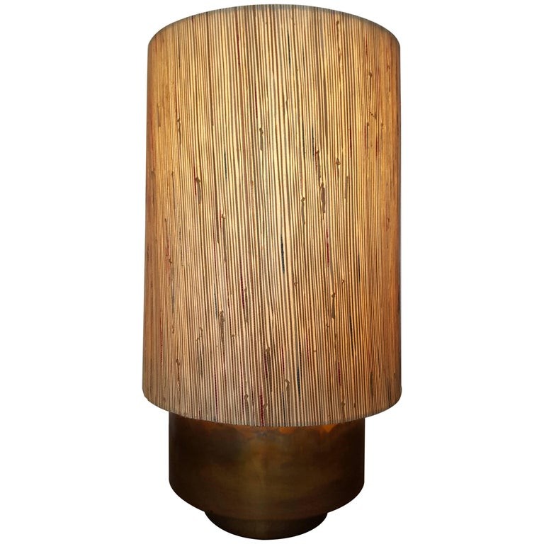Modern Brass Table Lamp with Custom Grasscloth Shade by Paul Marra 1