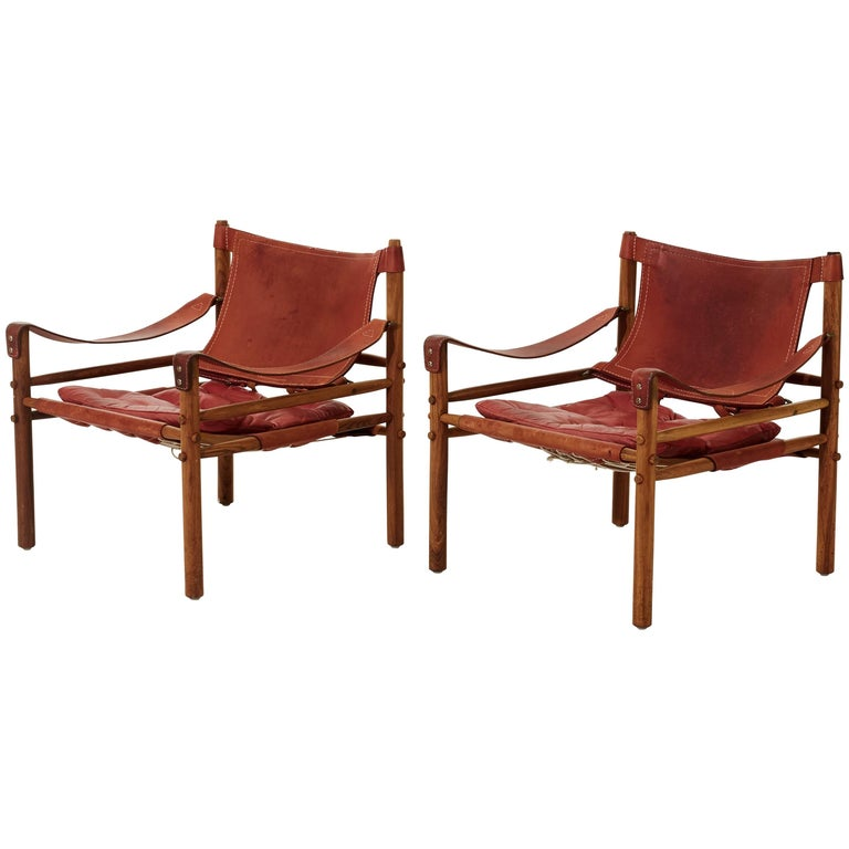 Arne Norell Rosewood and Leather Safari Sirocco Chairs, Sweden, 1960s