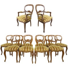Set of Twelve European Walnut Balloon Back Dining Chairs