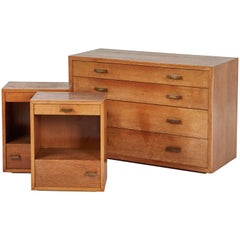 Mid Century Bedroom Set of Wooden Chest of Drawers and Pair of Nightstands